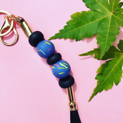 Blue marbled key ring