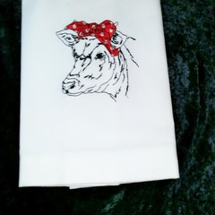 Tea Towel with Cow machine embroidered