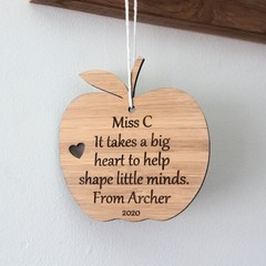 Personalised Teacher Gift, Bamboo Apple Decoration, Custom Made, Thank You Gift