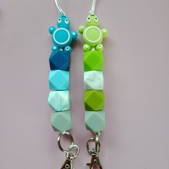 Green and blue turtle silicone bead lanyards