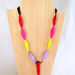 First Wedding Anniversary Gift. Multi Coloured Paper Bead Necklace