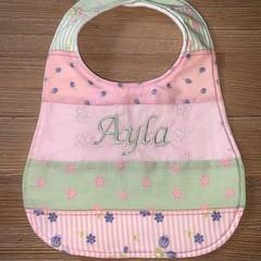 Personalised decorative feeding bib, dribble bib, baby shower gift,