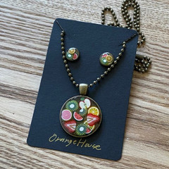 Fruits resin Necklace with ball beads chain and earrings