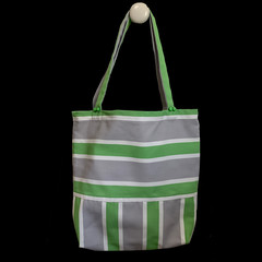 TOTE BAG - green, white and grey striped .