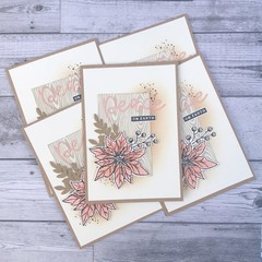 Set of 5 Handmade Christmas Cards - Peace On Earth Pink