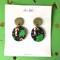 Christmas dangles, black with candy canes