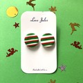 Christmas stripe studs, round (medium)