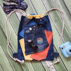 Explore More Backpack, Recycled Jeans Backpack, Camera Backpack