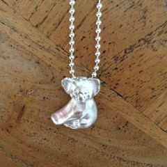 Solid Recycled Silver Koala Pendant on a Sterling Silver Chain