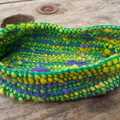 Crocheted oval basket made from silk and vintage rayon. Multi-colour, small