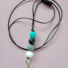 Green grey and black round silicone bead lanyard / Id holder / badge holder