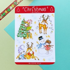 Christmas sticker sheet, festive stickers, planner stickers, scrapbook
