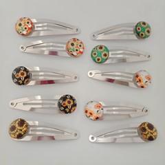 Flower / sunflower silver snap hair clips