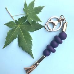 Purple beaded keyring