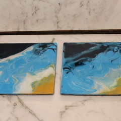 Resin Abstract Beach Coasters (corner)