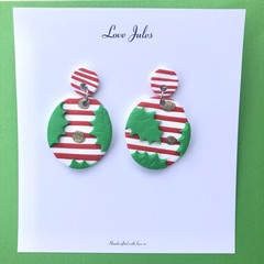 Christmas striped holly earrings