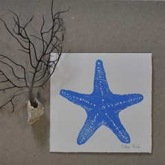 Lino print Starfish greeting card