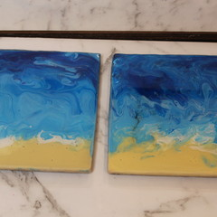 Resin Abstract Beach Coasters (edge)