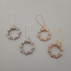 Silver and gold round star and crystal dangle earrings