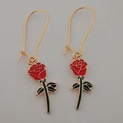 Gold red enamel rose charm dangle earrings / women's accessories