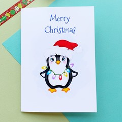 Christmas card, penguin and baubles, holiday card, greeting card
