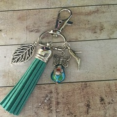 Green tassle key charm