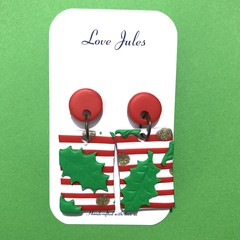 Christmas earrings, holly with stripes