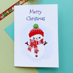 Christmas card snowman, holiday card, seasonal card