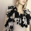 Recycled silk black off white boho boa scarf
