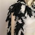Recycled silk black off white boho boa scarf