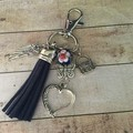 Navy tassle key charm