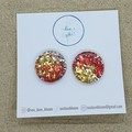 Medium Studs - Christmas Theme: Red + Gold
