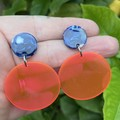 Fluoro pink/orange disc earrings