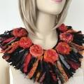 Recycled silk orange black boho  flower neckpiece