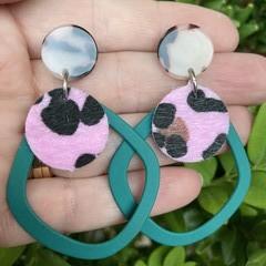 Green & pink leopard print earrings