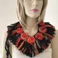 Recycled silk orange black boho  flower neckpiece