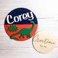 Personalised dinosaur wall sign