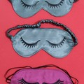 Handmade satin Sleep Eye Mask Quirky Luscious Lashes Good Night Sleep Mask