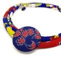 Kimono Cord Necklace Blue Florals