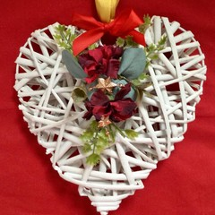 Christmas decorated Hanging Wicker Heart