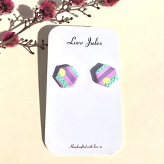 Candy stripe studs, hexagonal