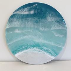 Aquamarine Aerial Ocean Resin Artwork 30cm