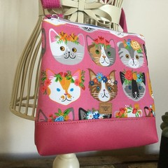 Girls Crossbody Bag - Cats on Pink