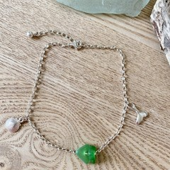 Sea glass and Sterling silver anklet