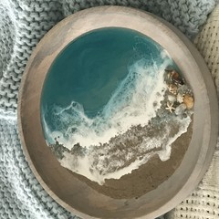 Resin Art/ Resin Ocean/Resin Beach/Coastal Decor/Beach Decor/Decorative Bowl