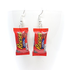 Reese's Peanut Butter Chocolate Bar Earrings, Reese's dangle earrings