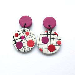 Mokume pink and white statement disc earrings