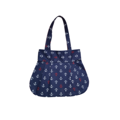 Fabric Reversible Cotton Navy Blue Tote Bag Nautical Anchor Design Pink Flowers