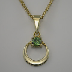 Australian Light Green Sapphire set in Solid 9ct Yellow Gold Pendant