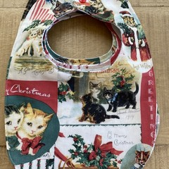 Vintage Christmas Kitty Baby Bib